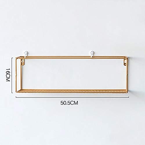 Wall shelf Floating shelf wandplank zwevende planken wandmontage metaaldraad kunst rechthoekige planken voor fabrieksweergave, opslag & organizer rek, wanddecoratie wanddecoratie (zwart/goud, G 50 cm goud