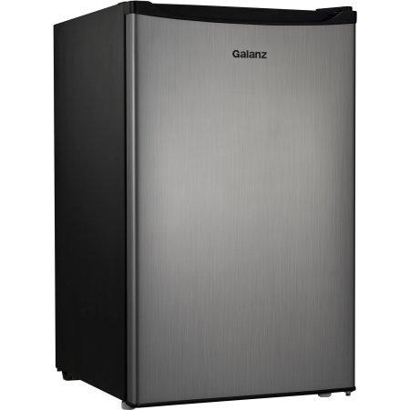 Galanz 4.3 cu ft Compact Single-Door Refrigerator, (Stainless Steel)