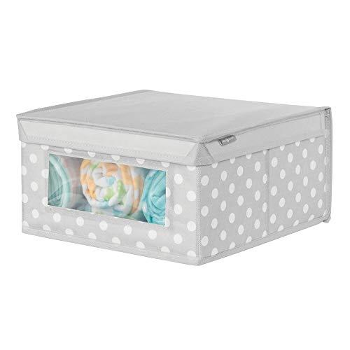 mDesign Caja con tapa mediana con estampado de puntos – Cajas apilables para guardar ropa o zapatos – Cajas para armarios con tapa y ventana – gris/blanco