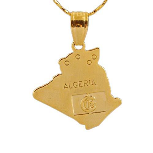 YUYGO Algerien Karte AnhäNger Kette 18 Karat Gelbgold ÜBerzogene Algerische AnhäNger Halskette FüR MäNner Frauen