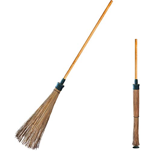 """Madambee Broom - Outdoor and Garden - Uniquely Self-Standing and Compact - Adjustable for Narrow (6"""") and Wide (12"""") - Handmade in Korea with Natural Coconut Palm Bristles."""