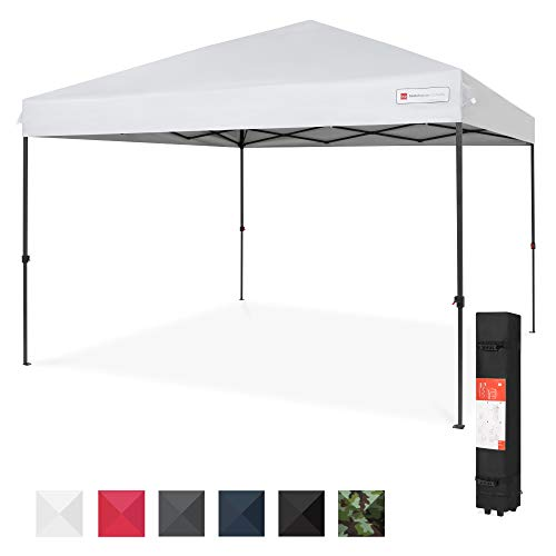 Best Choice Products 10x10ft 1-Person Setup Pop Up Canopy Tent Instant Portable Shelter w/ 1-Button Push, Straight Legs, Wheeled Carry Case, Stakes - White