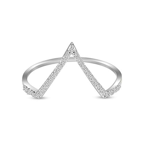 Mothers day gifts Diamond Ring for Mom Lab Created Diamond Ring Luxury V-Shaped Diamond Ring 1/10...