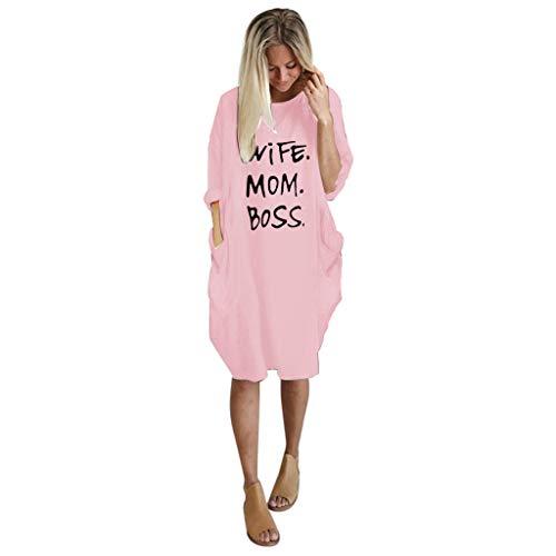 showsing-vrouwen kleding Womens Zomer Mini Jurk, Casual Korte Mouw Letter Gedrukt Korte Jurk met Zak, Dames Zomer Strand Losse Jurken
