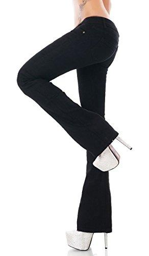 Label by Trendstylez Modische Damen Stretch Bootcut Jeans Schlag Hose in schwarz Größe 36