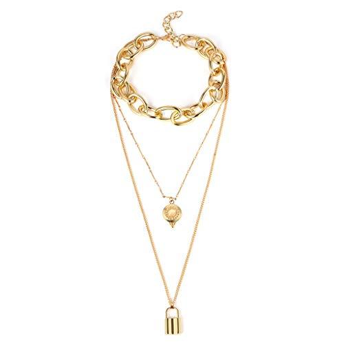 UINGKID Damen Halskette Anhänger Schmuck Vintage Metal Plate Lock Sweater Kette mehrschichtige