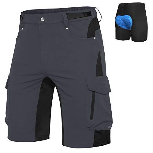 Ally Mens Mountain Bike Shorts Padded MTB Shorts Baggy Cycling Bicycle Bike Shorts with Padding Wear Relaxed Loosefit Dark Grey L
