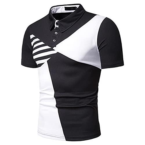 SSBZYES Camiseta De Manga Corta para Hombre De Verano Camiseta para Hombre Camiseta Polo para Hombre Costura a Rayas para Hombre Camiseta De Manga Corta con Solapa De Tamaño Europeo
