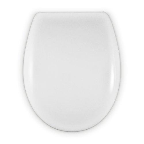 Tapa Wc Forma O Universal - Bisagra Ajustable - Fácil Instalación y Limpieza - Asiento Inodoro Muy Resistente - Blanco - 43 x 36 x 5,5 cm