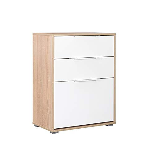 'N/A' Shoe Rack Tobias 65 x 38,3 x 84,2, White and Oak, One Drop-down Door and 2 Drawers