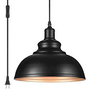 YeLEEiNO Indoor Pendant Lamp, Retro Black Finish E26 1-Light Ceiling Pendant Light Hanging Light Fixture Plug in Cord with On/Off Switch