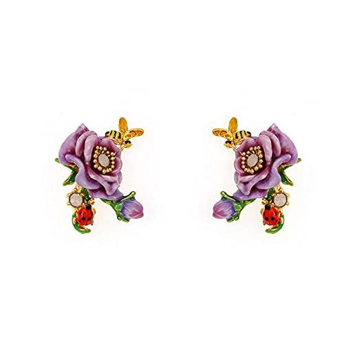YFZCLYZAXET Pendientes Mujer Pequeñas Flores Frescas Amor Pendientes Pendientes Casuales Pendientes De Moda Joyería Simple