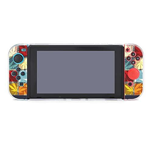 Coque pour Nintendo Switch Rastafari Grunge Feuilles de chanvre colorées Lot de 5 housses de protection compatibles avec console de jeu Nintendo Switch