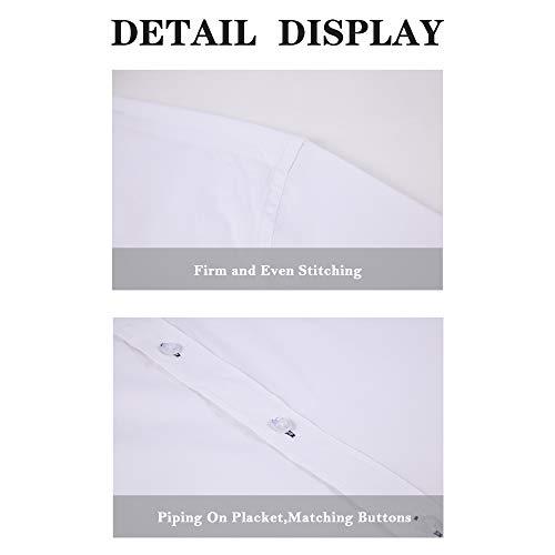 Monlando Mens Dress Shirts Long Sleeve Regular Fit Cotton Stretch Men Casual Fashion Shirt, White, Medium