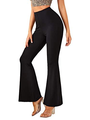 DIDK Femme Pantalon Evasé Taille Haute Pantalon De Sport Yoga Gym Fitness Jogging Pantalon Bootcut Elastique Unicolore Legging Léger Noir L