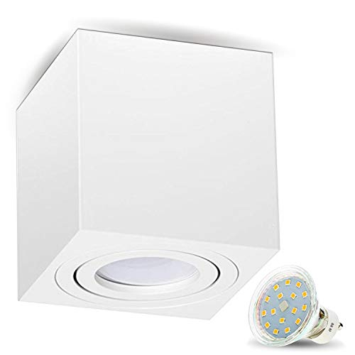 JVS Aufbauleuchte Aufbaustrahler Deckenleuchte Aufputz LED 4W Warm-weiß Milano GU10 Fassung 230V Eckig Weiss schwenkbar Deckenleuchte Strahler Deckenlampe Aufbau-lampe Downlight aus Aluminium