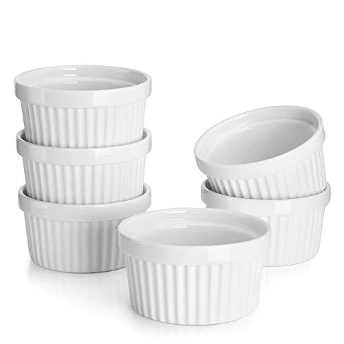 Sweese 501.001 6er Set Soufflé Förmchen, 180 ml, Creme Brulee Formen aus Porzellan, Förmchen für Muffins, Cupcakes