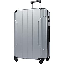 Merax Hardside Spinner Luggage with Built-in TSA Lock Lightweight Suitcase 20inch 24inch and 28 inch Available (Silver, 28-inch)