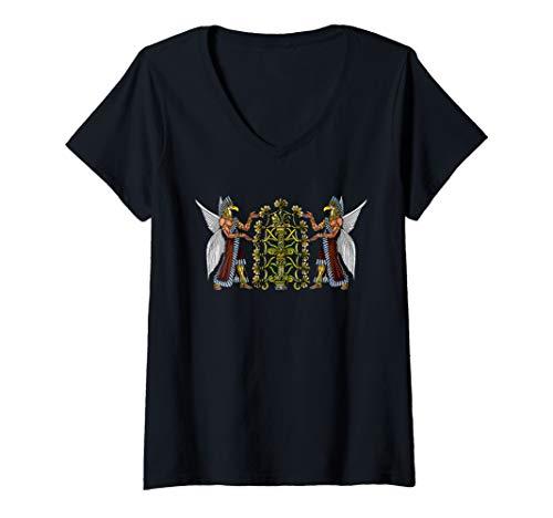 Damen Annunaki Alien Gott Sumerische Außerirdische T-Shirt mit V-Ausschnitt