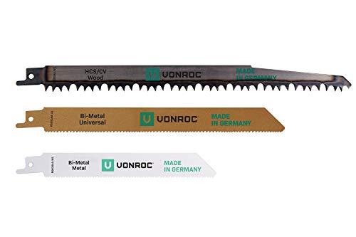 VONROC Satz Universal-Sägeblätter für eine Säbelsäge - 3-teilig – für Holz und Metall – Made in Germany