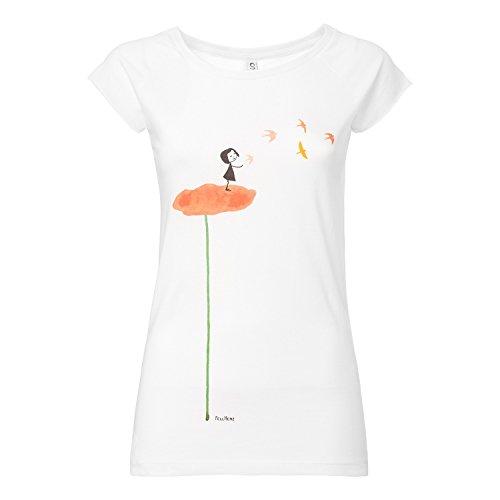 FellHerz Schwalbenzug weiß - S - süßes Damen T-Shirt aus 100% Bio-Baumwolle organic cotton fair nachhaltig alternativ orange Blume Vögel Mädchen Fee