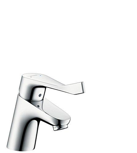Hansgrohe 31910000 Focus Care 70 Grifo de lavabo con manecilla extralarga y vaciador automático, Cromo, 70 mm