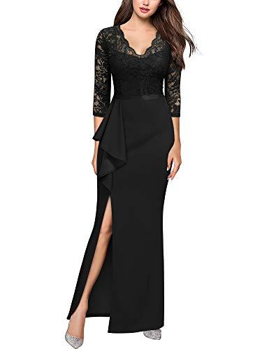 MIUSOL Damen Abendkleid Lang V Ausschnitt Fishtail Ballkleid Abendkleid Teilt Rüschen Schwarz Gr.2XL