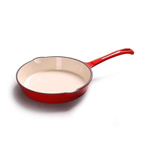 HYYDP Tegami Padella Manico Lungo Ghisa Padella Pentola Padella Pentola Smaltata Pentola a Fondo Piatto Padella Pentola Antiaderente (Color : Red, Size : 20cm)