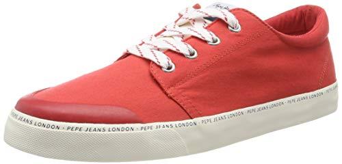 Pepe Jeans Traveller Basic Man, Zapatillas Hombre, Rojo Red 255, 45 EU