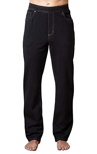 PajamaJeans Mens Elastic Waist Pants - Elastic Waist Pants for Men, Black, Large