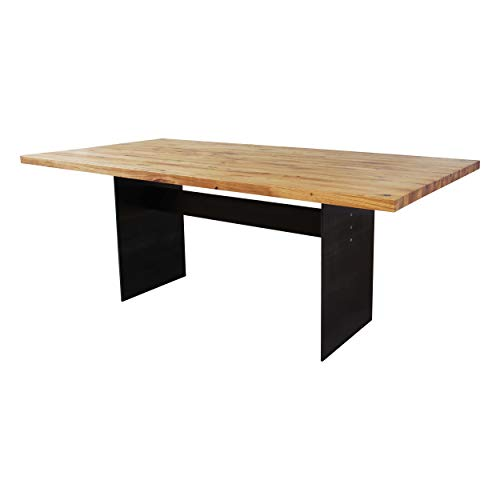 Esstisch Manhattan Eiche massiv 220 x 100 cm, Designer Tisch Massivholz mit Rohstahl Tischgestell, Holztisch Metall Stahl, Premium Esstisch, Design Esstisch Exklusiv!