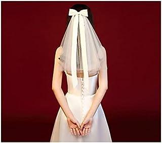 結婚式のベール 新しい弓ノットホワイトベール多層ふわふわ小型ベールブライダルウェディングベールショートブライダルベールウェディングパーティー装飾アクセサリー ベール (Color : White)