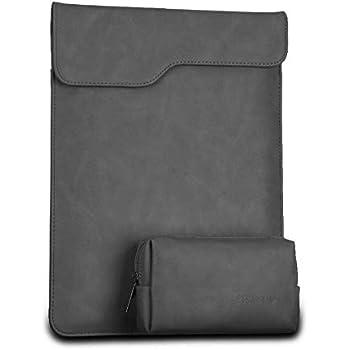MacBook Pro/Air 13ケース レザー パソコンケース 防水 カバー 封筒型 衝撃吸収 (13インチ, グレー)