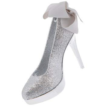HL Party Silver Glitter High Heel Shoe Ornament Christmas Tree Decoration