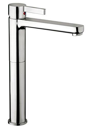 Miscelatore per lavabo bagno modello alto in ottone cromo Piralla Abbracci