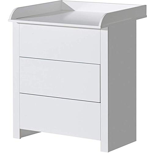 ATB Möbel - Fasciatoio con 3 cassetti, colore: bianco, 80 x 75 cm, per cameretta dei bambini, bagno, fasciatoio e fasciatoio