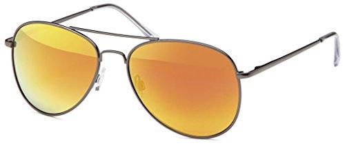 Hatstar Pilotenbrille Verspiegelt Fliegerbrille Sonnenbrille Brille mit Federscharnier (73 | Rahmen Schwarz - Glas Orange verspiegelt)