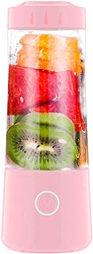 Batidora personal portátil, mini exprimidor de 14 onzas, taza mezcladora de frutas, 4000 mAh recargable por USB con seis cuchillas, ideal para hielo triturado,batidos y cocina del bebé (rosa)