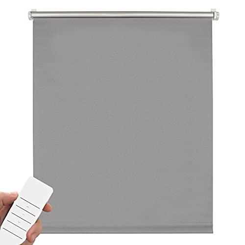 Kirsch Innovation Elektrisches Verdunklungsrollo für Fenster, Klemmfix ohne Bohren, Rollo mit Akku, Thermorollo lichtundurchlässig, Hitzeschutz – 60x150 cm grau – Klemmträger