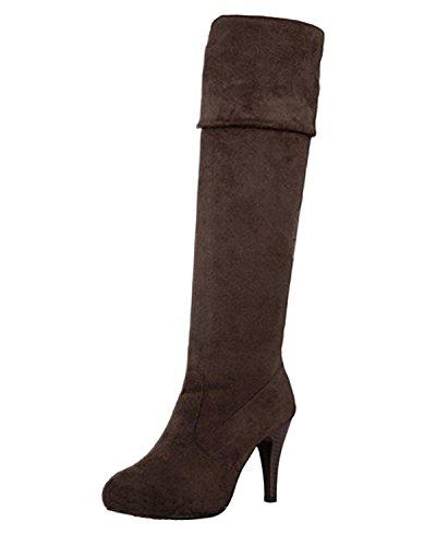 Minetome Mode Frauen Overknee über Knie Stretchy Schuhe High Heel Stiefel( Braun EU 39 )