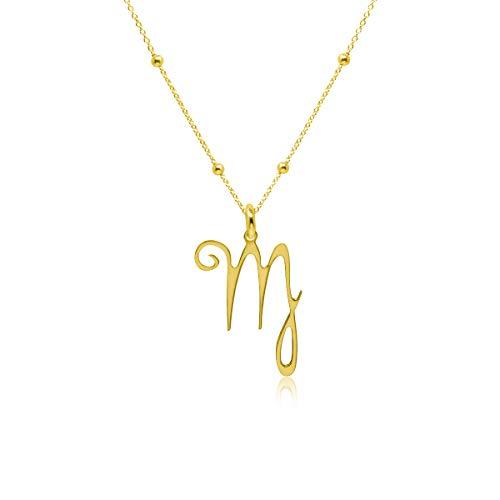 WANDA PLATA- Collar Símbolos del Zodíaco Virgo para Mujer Plata de Ley 925 con Baño de Oro, Colgante Horóscopo, Astrología