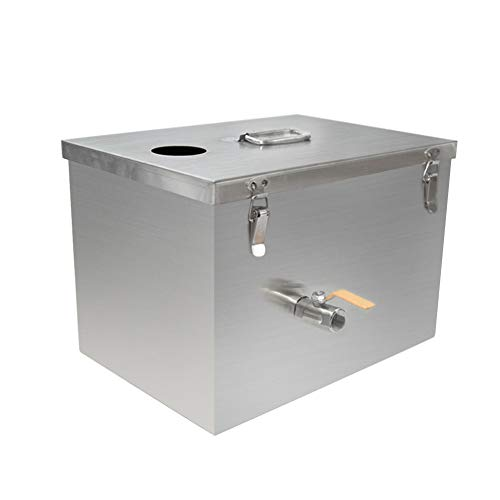 XuSha Commercial Grease Trap 4 GPM 9lbs Interceptor Stainless Steel for Restaurant Kitchen (4 GPM Top Inlet)