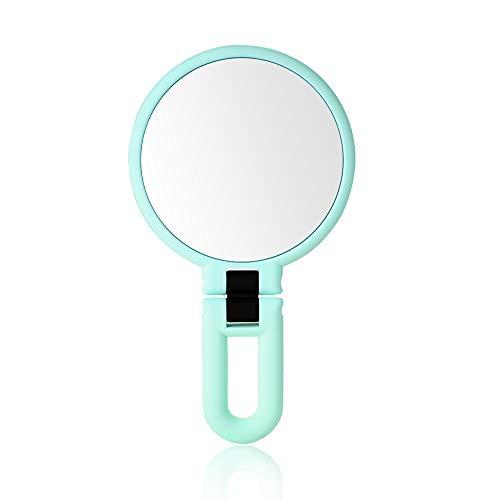 Miroir Miroir Maquillage Grossissement 10 Fois/Grossissement 15 Fois Beau Miroir Portable À La Main Rotation De 360 degrés ZHANGAIZHEN (Couleur : Green, Taille : Fifteen Times Magnification)