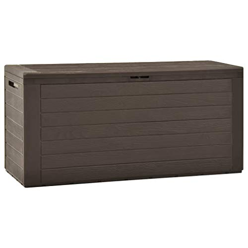 Tidyard Gartenbox Aufbewahrungsbox Kissenbox Auflagenbox Werkzeugkasten Braun/Anthrazit 116x44x55 cm / 114x47x60 cm Geeignet für den Innen- und Außenbereich
