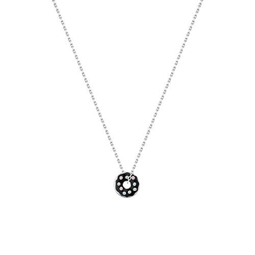 zxb-shop Collares 925 Dona Colgante, Collar del Encanto del círculo de 18 Pulgadas Collar de Doble Cara-El Uso de la Cadena de clavícula joyería (Negro) Regalos cumpleaños para Esposa, Madre