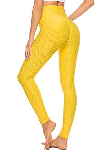 STARBILD Leggings Sportivi da Donna Anti-Cellulite Sexy Push Up Vita Alta Pantaloni Compressione Yoga Pant Calzamaglie Slim Palestra Allenamento, K-Giallo M