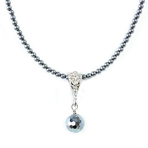 One&Only Jewellery テラヘルツ 鉱石 2mm ネックレス チョーカー 8mm ペンダントトップ(ラウンドネックレス×ミラーカット珠)