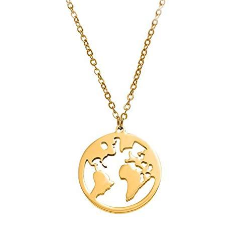 Weltkarte Halskette Frauen Edelstahl Halskette/Karte Anhänger Exquisites Schmuck Geschenk für Mädchen (Golden)