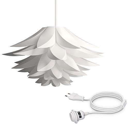 kwmobile DIY Puzzle Lampe Lampenschirm - Lotus Schirm Set mit 5m Eurostecker Kabel Schalter E27 Fassung - Stehlampe Puzzlelampe Deckenleuchte in Weiß