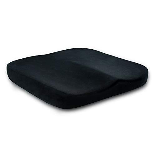 YUIO® Cómodo cojín plano Almohadilla para la cadera Anti hemorroides Espuma de memoria Oficina en el hogar Silla para el automóvil Cojín del asiento (negro (tela de corte))